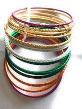 Load image into Gallery viewer, Multicolored Metal Bangles I - Set of 14 to 16 bangles