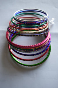Multicolored Metal Bangles I - Set of 14 to 16 bangles