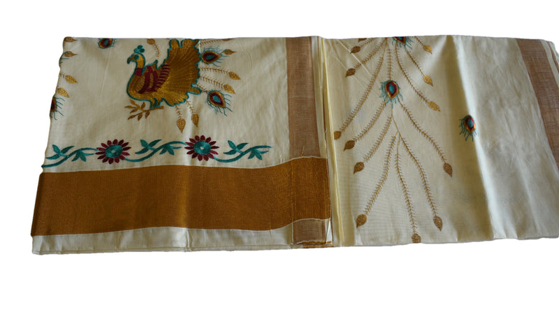 IVORY WHITE COLOR - KERALA KASAVU COTTON SAREE - PURE SILK THREAD EMBROIDERED - PEACOCK & FLOWERS EMBROIDERY