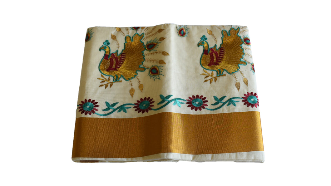Silk Thread Embroidered Kerala Kasavu Cotton Saree with Peacock and Flower Embroidery I