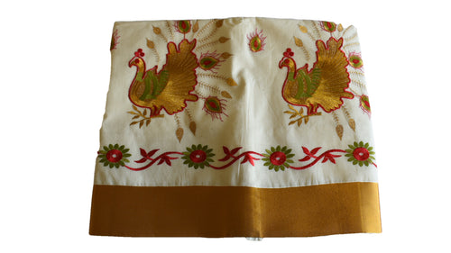 Silk Thread Embroidered Kerala Kasavu Cotton Saree with Peacock and Flower Embroidery VIII