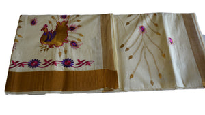 Silk Thread Embroidered Kerala Kasavu Cotton Saree with Peacock and Flower Embroidery III