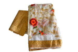 Chiffon Net Embroidered Saree with Gold Sequin and Flower Embroidery in White Color