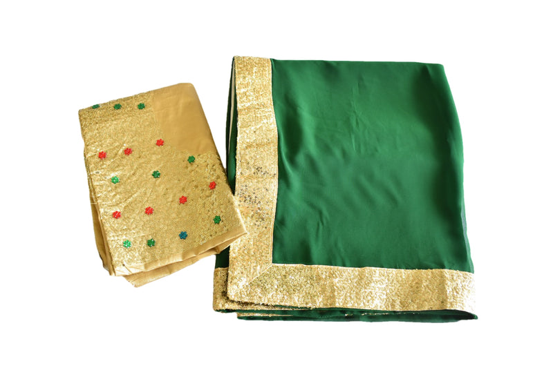 GREEN COLOR - PURE SILK GEORGETTE SAREE - GOLD SEQUIN BORDER - RICH ELEGANT