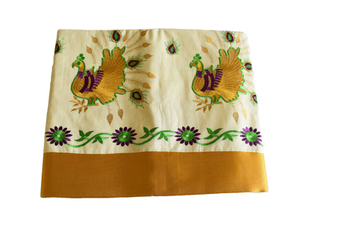 Silk Thread Embroidered Kerala Kasavu Cotton Saree with Peacock and Flower Embroidery II
