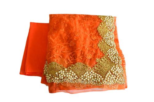 Embroidered Chiffon Net Saree with White Pearl Beads in Orange Color.