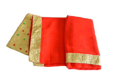 Pure Georgette Saree with Gold Sequin border in Red color