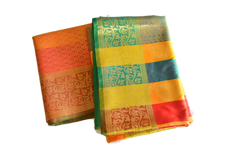 Yellow Orange Color - Kanchipuram Silk Saree - Paisley Leaf Design - Gold Zari
