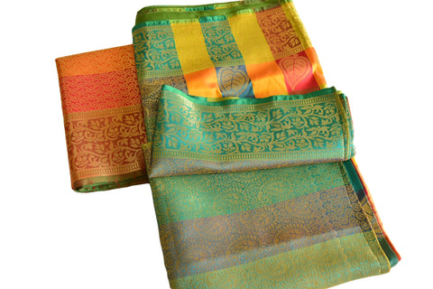 South Silk Saree in Yellow and Orange Colors with Green color border II