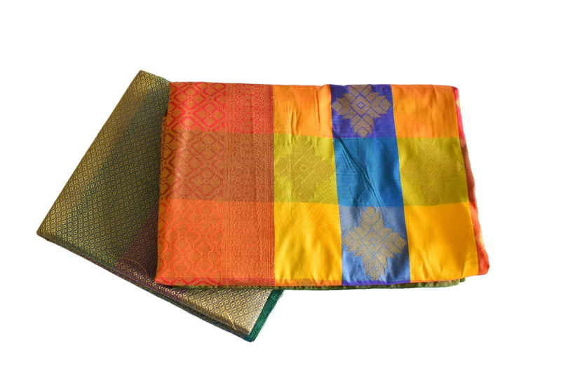 Yellow Blue Color - Kanchipuram Silk Saree - Diamond Design - Gold Zari