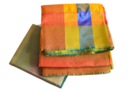 Pure Silk Saree in Yellow and Colors with Orange color border I