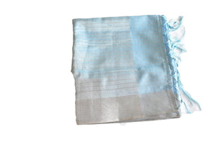 Cotton Silk Blend Linen Saree with Silver Lines and Silver Border in Light Blue color