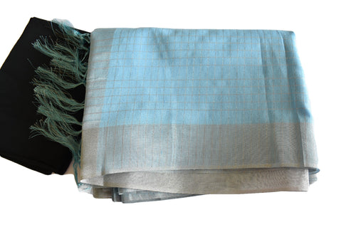 Cotton Blend Linen Saree with Silver Lines and Silver Border in Light Blue color