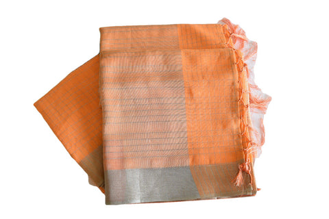 Cotton Blend Linen Saree with Silver lines and Silver Border in Light Orange color