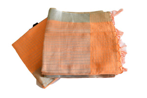 Cotton Silk Blend Linen Saree with Silver lines and Silver Border in Light Orange color
