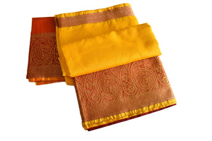 Cotton Silk Blend Linen Saree in Yellow color with Red color Zari Border