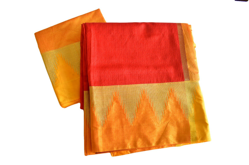 Red Color - Silk Cotton Blend Handloom Saree - Thick Wide Border - Gold Zari Pattern
