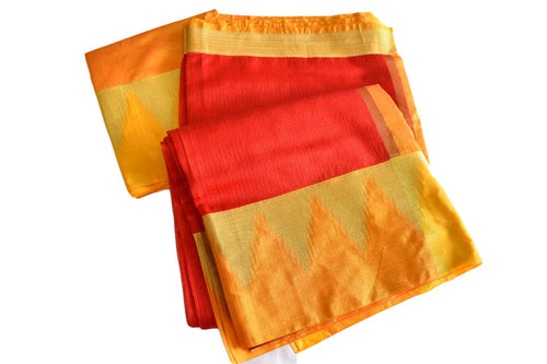 Cotton Silk Handloom Saree in Red color