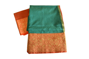 Cotton Silk Blend Linen Saree in Green color with Red Zari Border