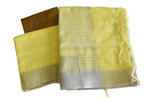 Cotton Blend Linen Saree with Silver Lines and Silver Border in Yellow color