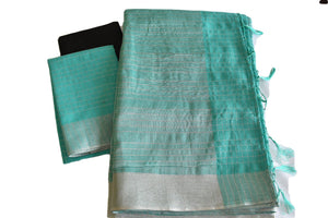 Cotton Silk Blend Linen Saree with Silver lines and Border in Turquoise color
