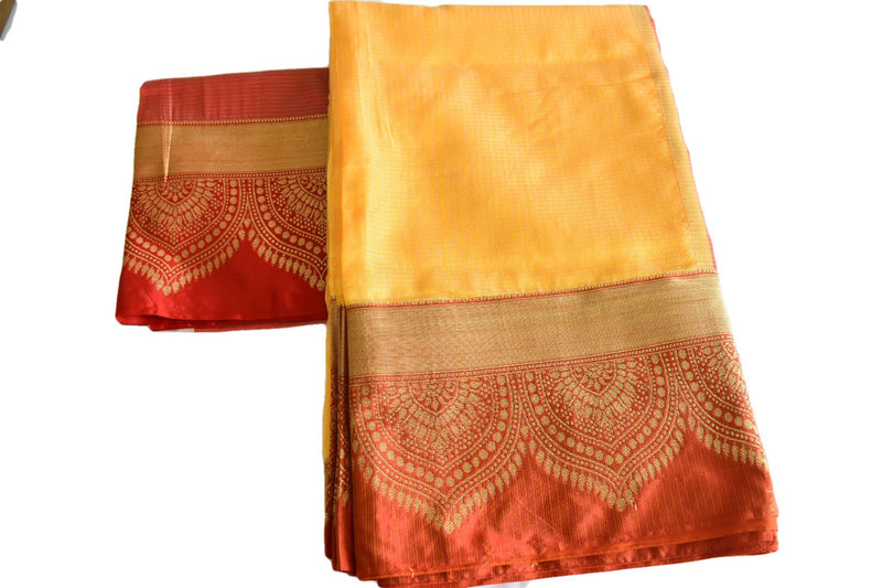 Mellow Yellow Color - Silk Cotton Blend Handloom Saree - Thick Wide Border - Gold Zari Pattern