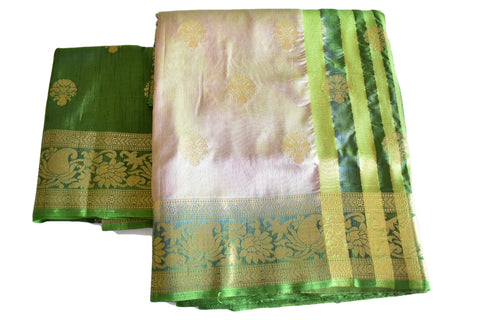 Silk Blend Saree in Two tone Green Cream color with zari design