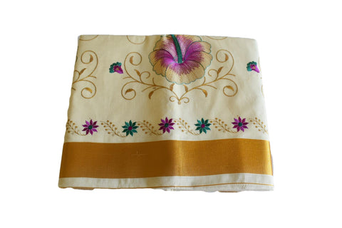 Silk Thread Embroidered Kerala Kasavu Cotton Saree with Gold Silk Zari Border with Flower Embroidery VII