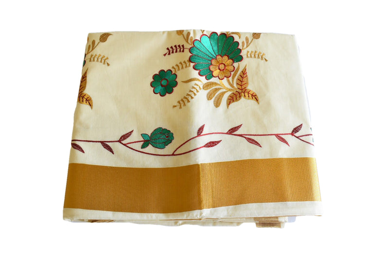 Ivory White Color - South Kasavu Cotton Saree - Pure Silk Thread Embroidered - Flower Embroidery