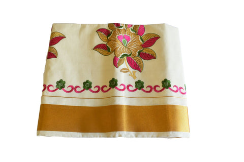 Silk Thread Embroidered Kerala Kasavu Cotton Saree with Gold Silk Zari Border with Flower Embroidery I