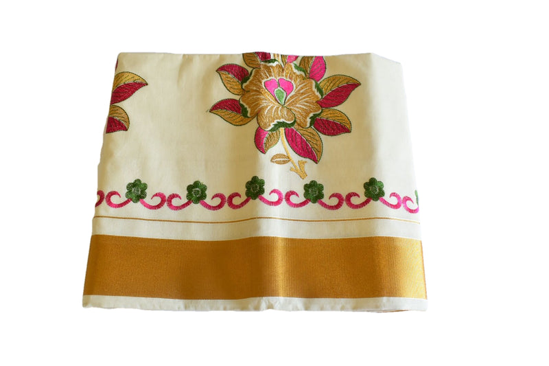 Cream Color - South Kasavu Cotton Saree - Pure Silk Thread Embroidered - Flower Embroidery