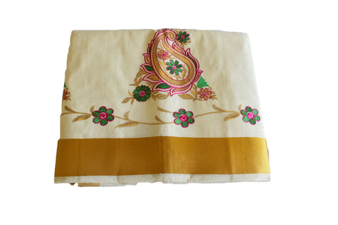 Silk Thread Embroidered Kerala Kasavu Cotton Saree with Gold Silk Zari Border with Flower Embroidery VIII