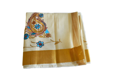 Silk Thread Embroidered Kerala Kasavu Cotton Saree with Gold Silk Zari Border with Flower Embroidery V