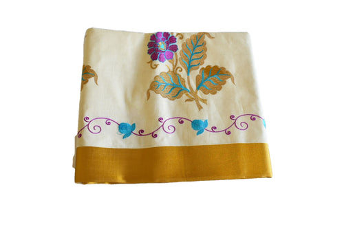 Silk Thread Embroidered Kerala Kasavu Cotton Saree with Gold Silk Zari Border with Flower Embroidery XVI