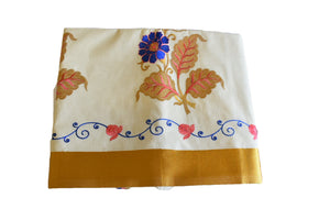 Silk Thread Embroidered Kerala Kasavu Cotton Saree with Gold Silk Zari Border with Flower Embroidery  IX