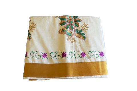 Silk Thread Embroidered Kerala Kasavu Cotton Saree with Gold Silk Zari Border with Flower Embroidery  XII