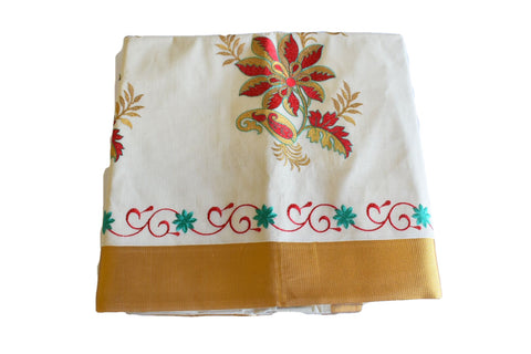 Silk Thread Embroidered Kerala Kasavu Cotton Saree with Gold Silk Zari Border with Flower Embroidery  XIII