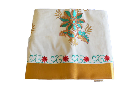 Silk Thread Embroidered Kerala Kasavu Cotton Saree with Gold Silk Zari Border with Flower Embroidery  XIV
