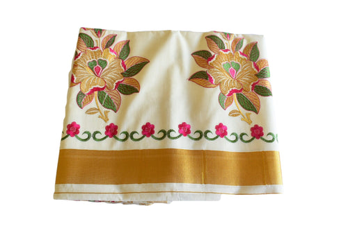 Silk Thread Embroidered Kerala Kasavu Cotton Saree with Gold Silk Zari Border with Flower Embroidery XVII
