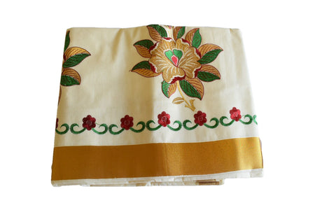 Silk Thread Embroidered Kerala Kasavu Cotton Saree with Gold Silk Zari Border with Flower Embroidery IV