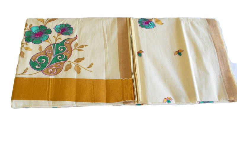 IVORY WHITE COLOR - KERALA KASAVU COTTON SAREE - PURE SILK THREAD EMBROIDERED - FLOWER EMBROIDERY