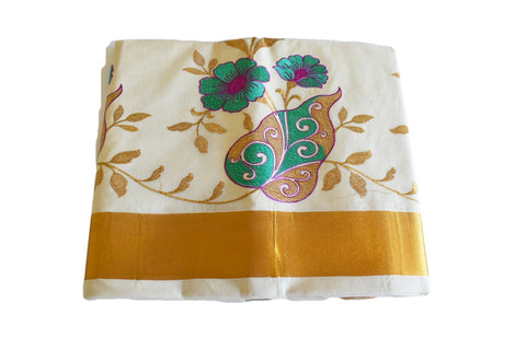 Silk Thread Embroidered Kerala Kasavu Cotton Saree with Gold Silk Zari Border with Flower Embroidery VI