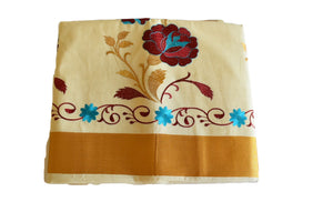 Silk Thread Embroidered Kerala Kasavu Cotton Saree with Gold Silk Zari Border with Flower Embroidery XVIII