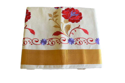 Silk Thread Embroidered Kerala Kasavu Cotton Saree with Gold Silk Zari Border with Flower Embroidery II