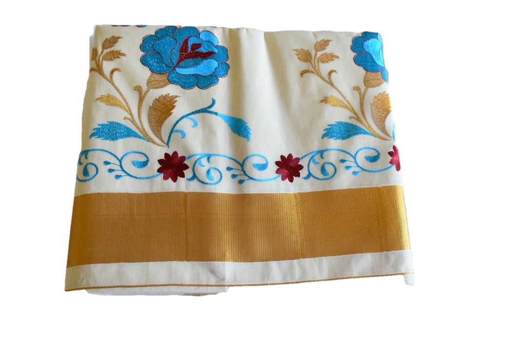 Silk Thread Embroidered Kerala Kasavu Cotton Saree with Gold Silk Zari Border with Flower Embroidery III