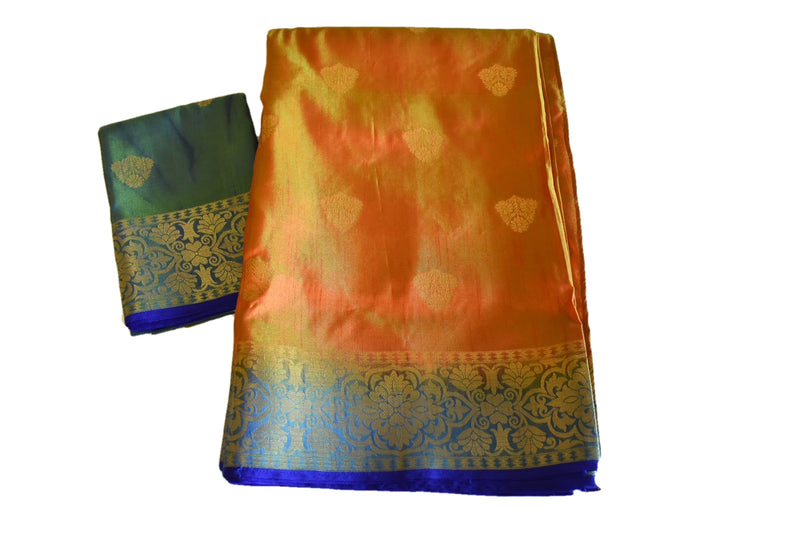 Pure Silk Blend Saree in Two tone Orange Blue color with zari design