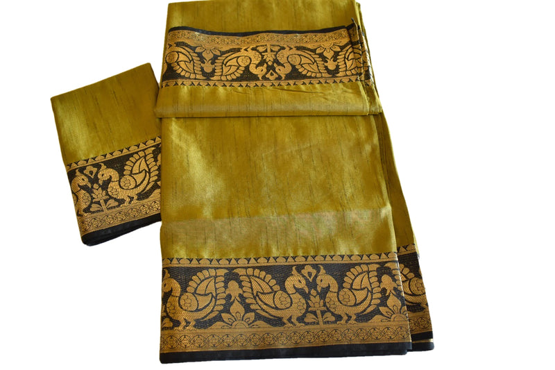 OLIVE GREEN TWO-TONE COLOR - PURE SILK BLEND SAREE, PEACOCK ZARI DESIGN