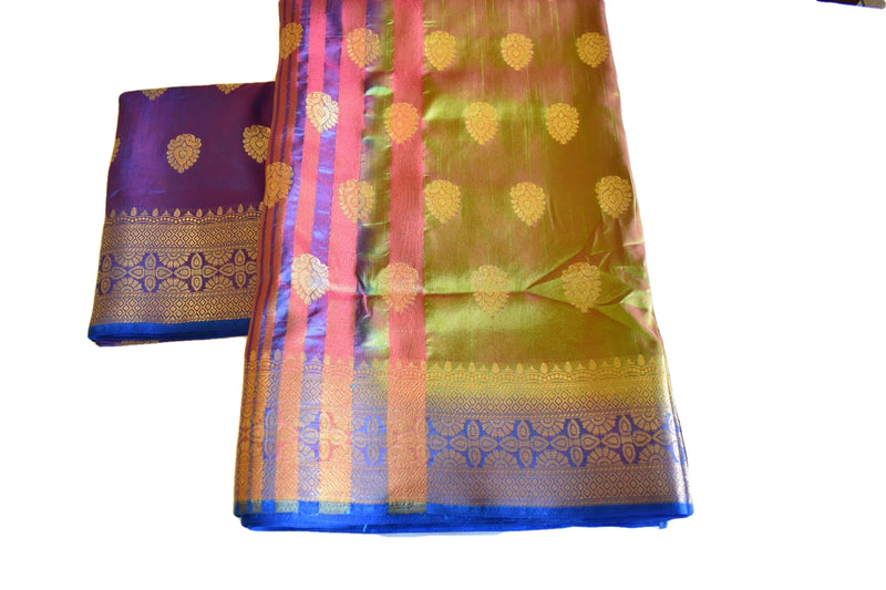 Pure Silk Blend Saree in Two tone Green color with zari design