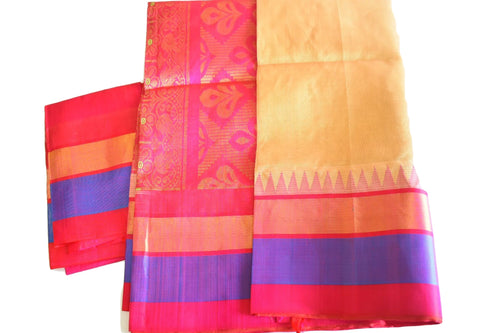 South Silk Cotton saree with Zari design in Light Brown Color