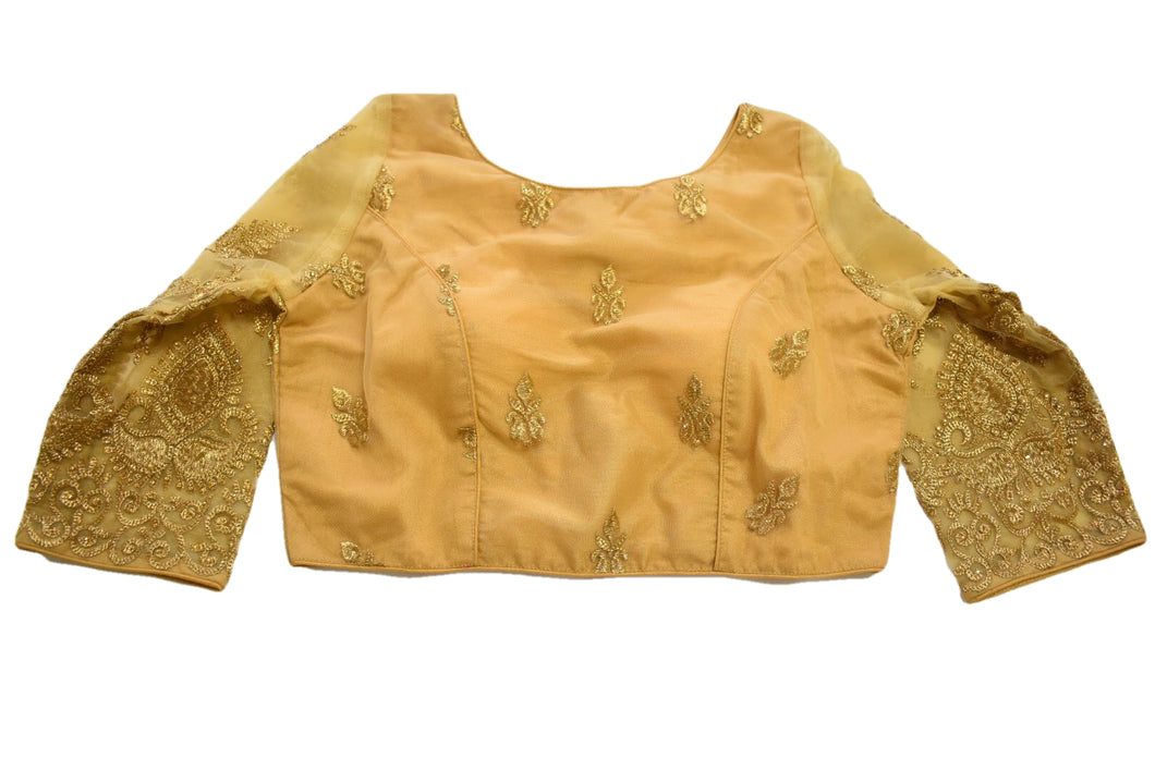 Embroidered Saree Blouse I and II in Rich Golden Color,Size - Small/Medium